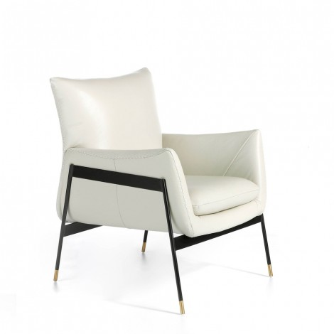 cerda metal armchair in white leather