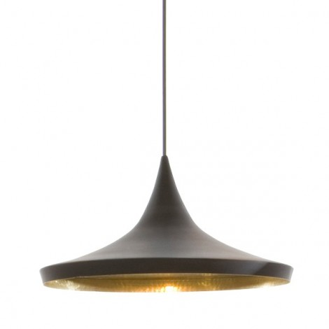 Reproduction of Tom Dixon's Pagoda suspension in matt black painted aluminum and white or gold interior