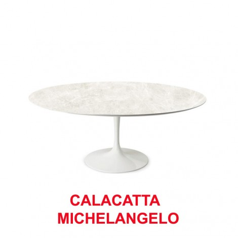Tulip table for outdoor use from diam. 80 to diam. 120 with aluminum base and ultra-resistant ceramic top