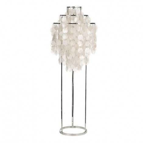 Verpan Fun Floor Lamp made of mother-of-pearl. Mother-of-pearl pendants and metal frame measures: Ø 42 cm x H 120