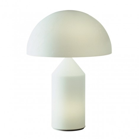 Reproduction of the Atoll white glass lamp with double lighting both in the base and in the hat