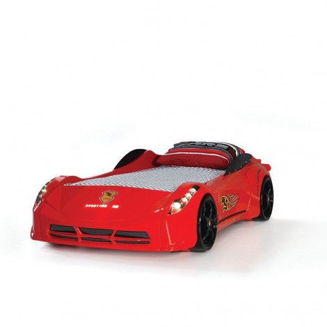 red falcon car with headlights