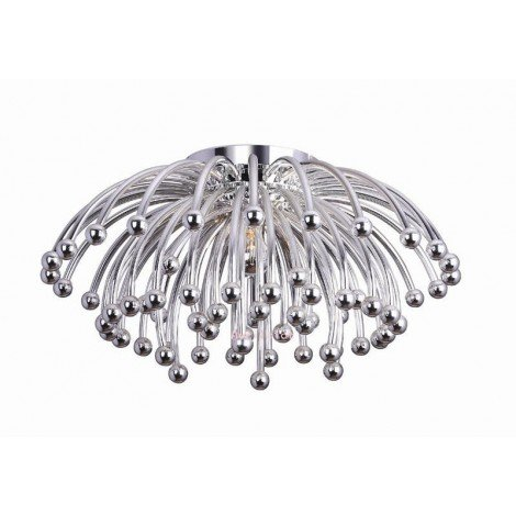 Reproduction of the Pistillo ceiling light with chromed structure suitable for living rooms and hotels