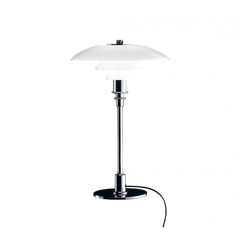 Reproduction of the Louis Poulsen big bedside lamp with chromed metal frame and white glass