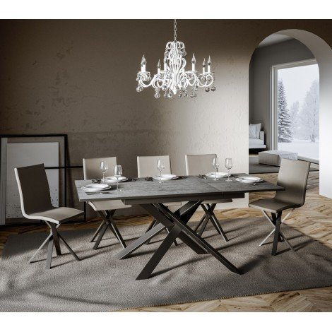 SMALL Ganty extendable table made with black metal structure and white or anthracite top