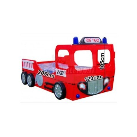 FIRE TRUCK SINGLE cot in mdf for children