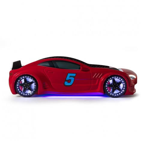 MVN3 red car bed with 4 sounds and LEDs on the wheels and headlights, underbody