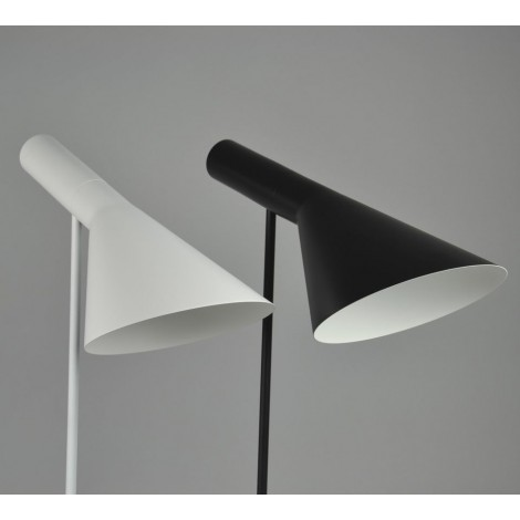 Reproduction of the Poulsen AJ floor lamp with die-cast zinc base and white or black painted steel frame