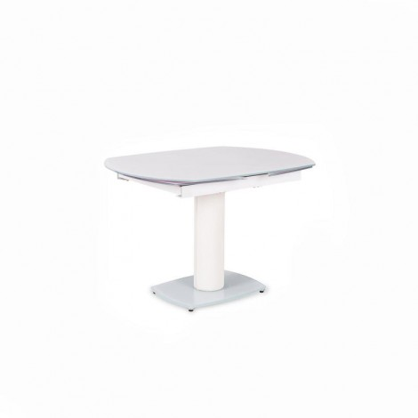 Kyoto extendable oval table with metal base and glass top available in three different finishes
