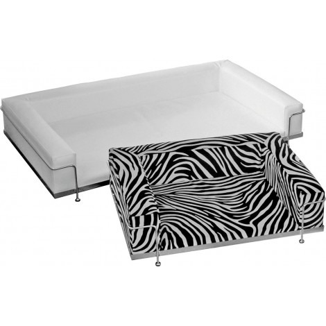 Dog & Cat sofa in eco-leather in 13 different colors and structure in chromed or lacquered steel