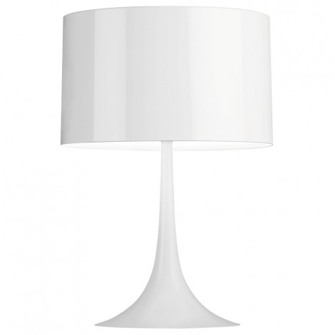Reproduction of Flos Spun lIght lamp with carbon steel base and aluminum lampshade available in black and white