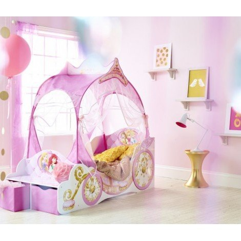 Carriage-shaped cot for girls. Dimensions 171 X 76cm MDF structure and Polyester curtains