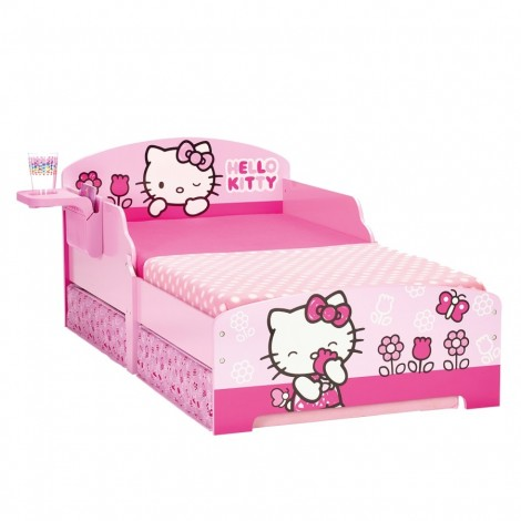 Hello Kitty baby bed decorated with built-in bedside table and wide slatted base included