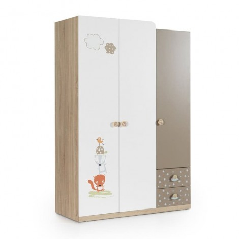 Wardrobe with 3 doors for...
