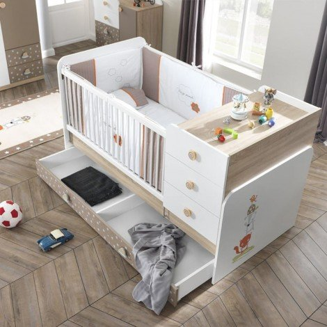 Crib for children's bedrooms with drawer