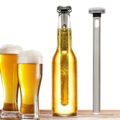 Metal sticks to freeze and insert into your bottle without the ice melting and watering the drink