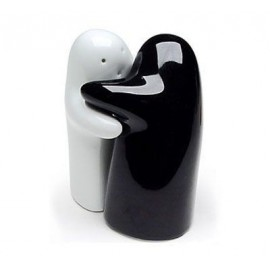 Salt and ghost pepper in white and black ceramic