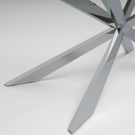 Enjoy table with chromed metal structure