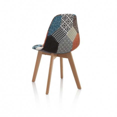 Patchwork chair with wooden frame and