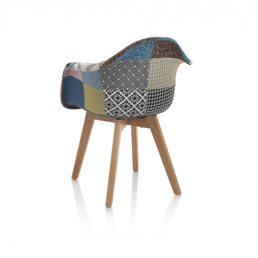 Patchwork armchair with wooden frame and
