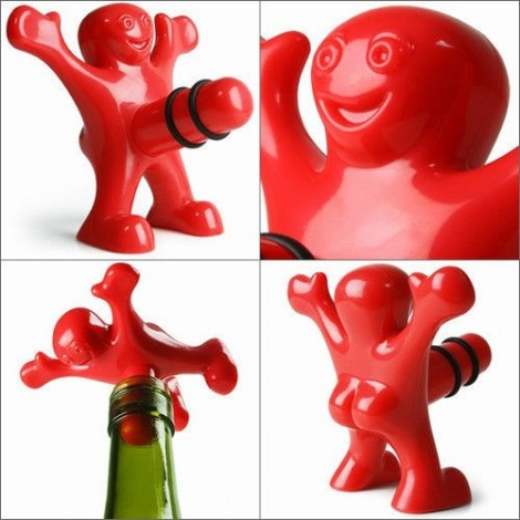 Set of three pieces corkscrew, stopper and tambourine in the shape of a puppet suitable for Christmas gifts and birthdays