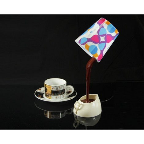Table lamp with USB connection in the shape of a coffee cup with LED lighting