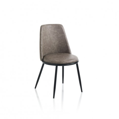 Snap chair with matt black metal structure covered in imitation leather available in two different finishes