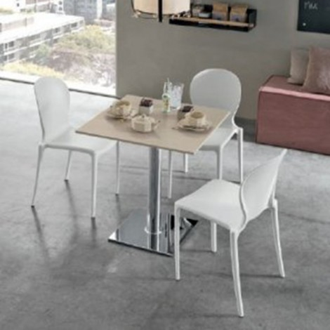 Irina chair made of stackable polypropylene available in ice white finish
