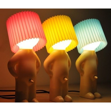 Abatjour in the shape of a child with colored lampshade. Suitable for birthday gifts