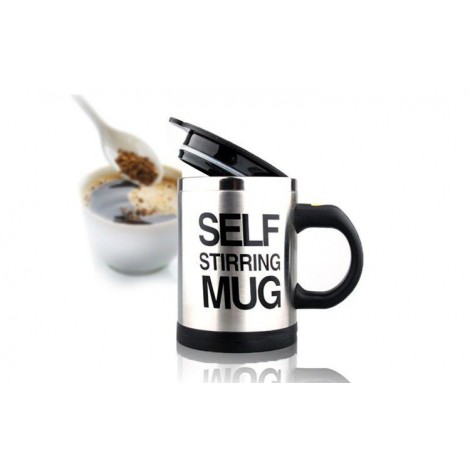 Porcelain mug with steel rim for milk, coffee or tea with mechanism to turn your drink with a single button