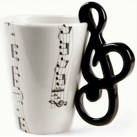 Ceramic mug for music lovers with themed handles such as guitar, violin key and drums