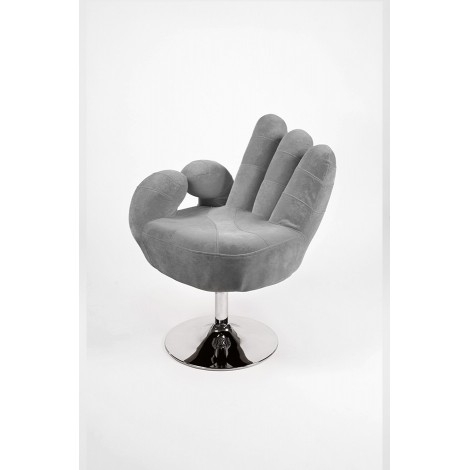 Hand-shaped armchair with swivel base and gas lift. Chromed metal structure and microfibre coating