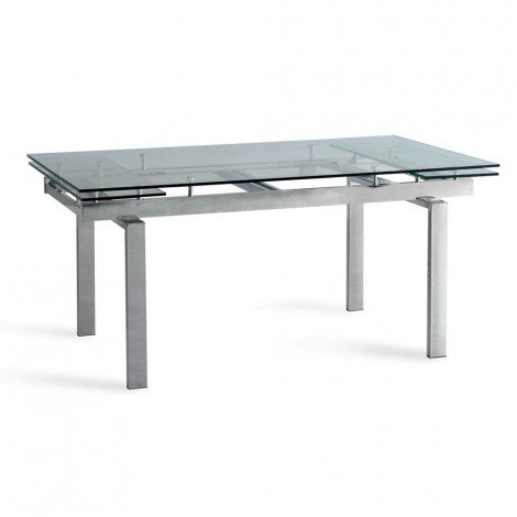 Apple extendable table with chromed metal structure and tempered glass top
