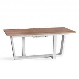 Rollercon extendable table with sonoma oak top and structure and central extension in white lacquered wood