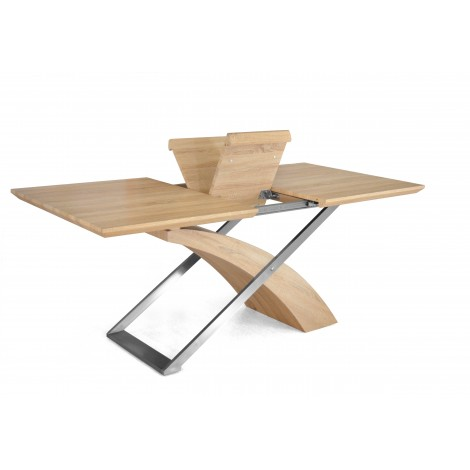 Level table with wooden and metal structure available with tempered glass or wooden top