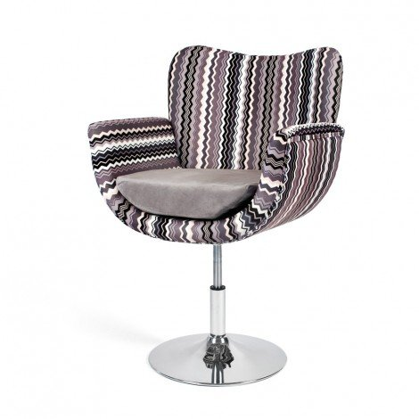 Celine Swivel Armchair with frame in chromed metal and upholstery in brown flower fabric