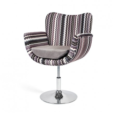 Celine swivel armchair with chromed metal structure and floral brown fabric covering