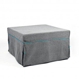 Pouf bed with painted metal structure and covered in several colors