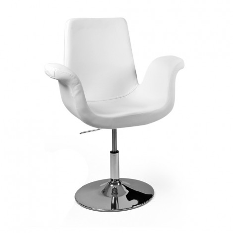 Swivel chair with gas lift With chromed metal frame covered with imitation leather