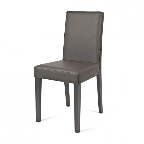 Wooden chair with seat and back covered with imitation leather with square legs and partial covering