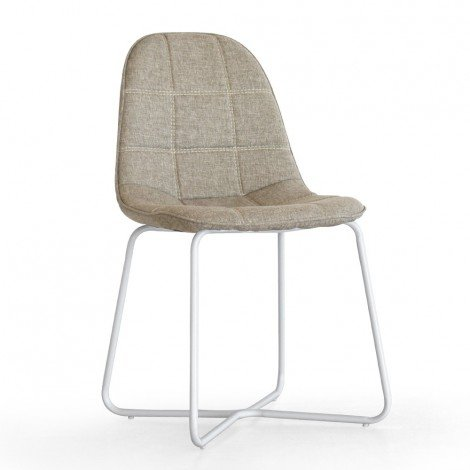 Sveva Chairs with upholstery available in leatherette or denim fabric, frame in polished or lacquered metal