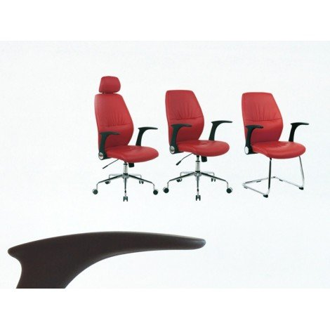 Set of office armchairs with metal structure and seat in imitation leather