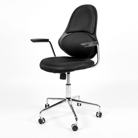 Swivel seat for office or study with reclining backrest and gas lift