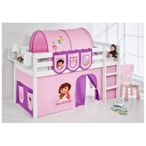 Dora raised bed with slide and without wooden with many nice details such as curtains and galleries
