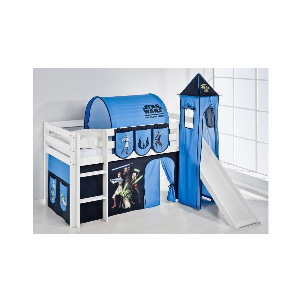 Raised Star Wars bed with slide and without in solid wood. INCLUDING MATTRESS AND SLATS NET