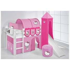 Raised bed Hallo Kitty with slide and without in 100% solid wood. INCLUDING SLATS AND MATTRESS