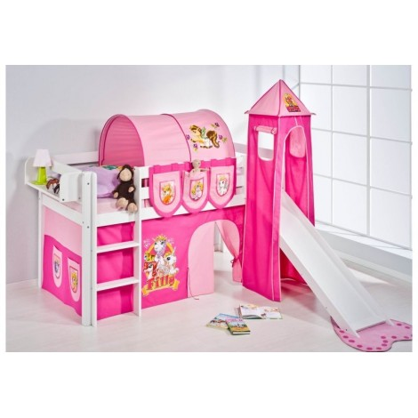 Filly loft Bed with or without slide, 100% solid wood. Slatted bed base included