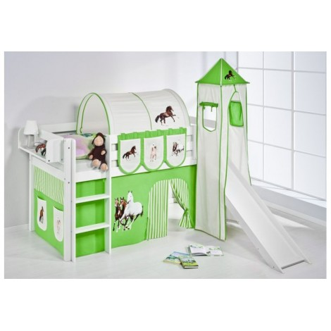 Loft bed with or without slide in 100% solid wood. INCLUDING BASE WITH SLATS AND MATTRESS. Available in multiple finishes