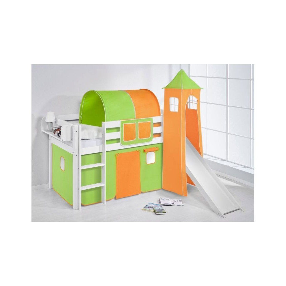 Loft bed with slide or without solid wood 10%. INCLUDING SLATS AND MATTRESS. Available in multiple finishes