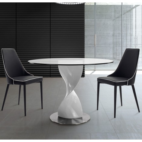 Tavolo Rotondo Vetro Acciaio.Fred Round Table With Base In Polished Stainless Steel